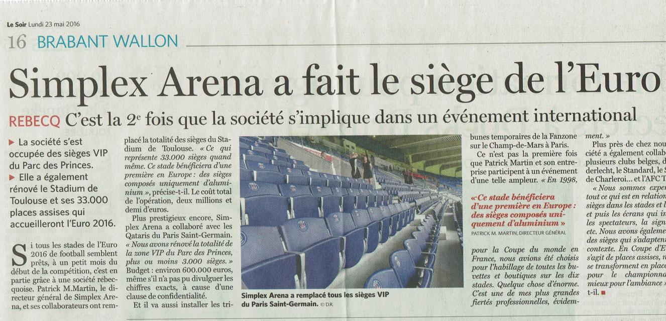 Simplex Arena fait le siège de l'Euro